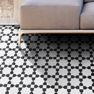 Martil  in Black and white Handmade cement Moroccan 8 inch x 8 inch Floor and Wall Tile (Pack 12)