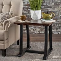 Powell Industrial Square Wood End Table by Christopher Knight Home