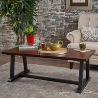 Powell Industrial Rectangle Wood Coffee Table by Christopher Knight Home