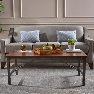 Iniko Industrial Rectangle Wood Coffee Table by Christopher Knight Home
