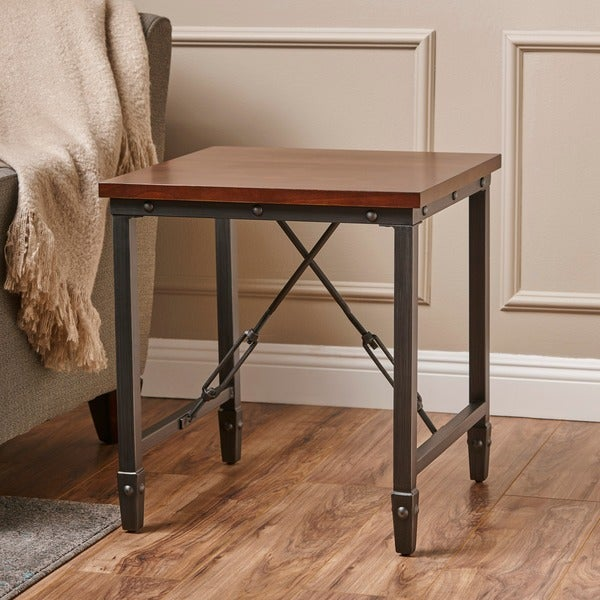 Iniko Industrial Square Wood End Table by Christopher Knight Home
