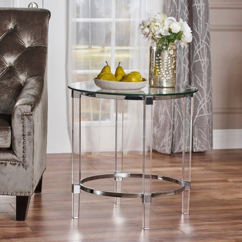 "Orianna Round Glass End Table by Christopher Knight Home - 24""L x 24""W x 24""H"
