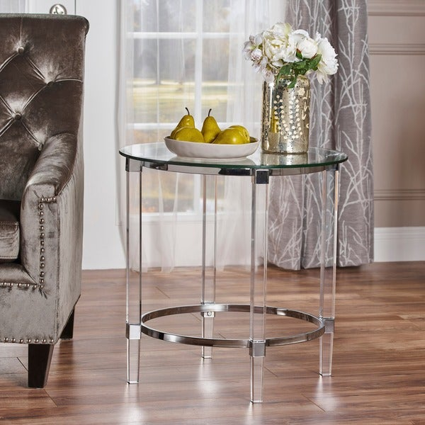 Shop Orianna Round Glass End Table By Christopher Knight