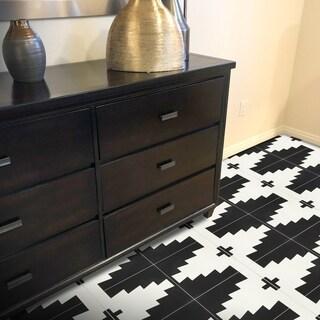 Set of 12 Midar Black and White Handmade Moroccan Floor/ Wall Tile (Morocco)