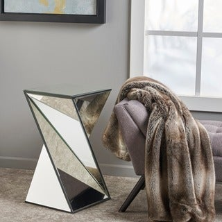 Amiel Geometrical Mirrored End Table by Christopher Knight Home