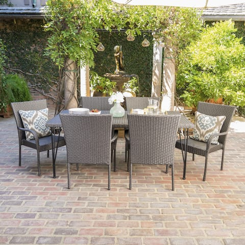 Nash Outdoor 7-Piece Rectangle Wicker Dining Set by Christopher Knight Home