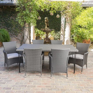Belen Outdoor 7-Piece Rectangle Wicker Dining Set with Cushions by Christopher Knight Home