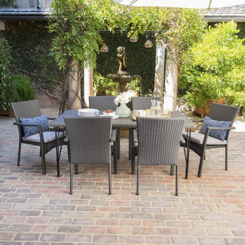 Luka Outdoor 7-Piece Rectangle Wicker Dining Set with Cushions by Christopher Knight Home