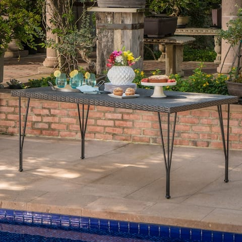 Bedford Outdoor Rectangle Wicker Dining Table by Christopher Knight Home