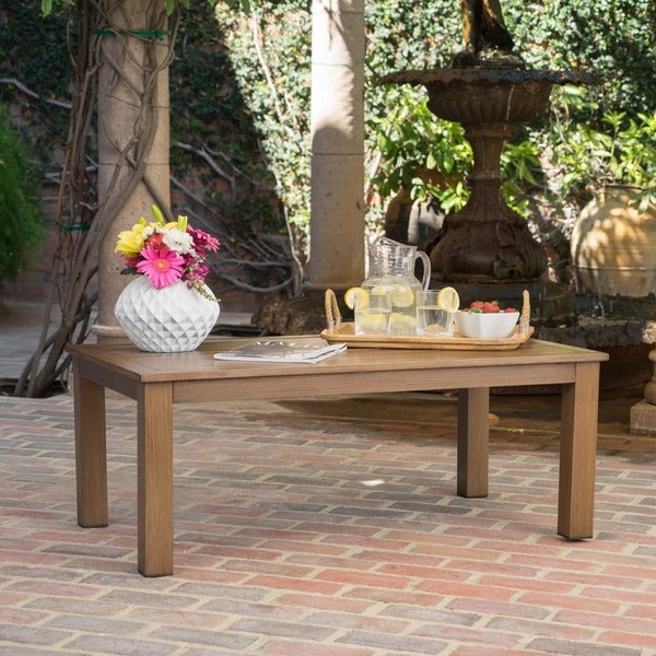 Melrose Outdoor Aluminum Rectangle Coffee Table By Christopher Knight Home
