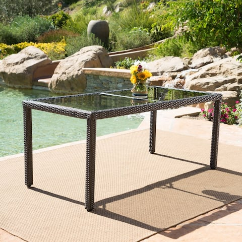 San Pico Outdoor Rectangle Wicker Tempered Glass Dining Table by Christopher Knight Home