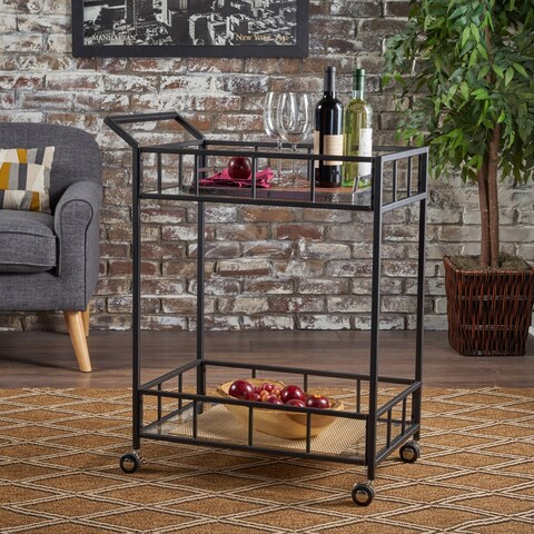 Falon Industrial Modern Iron Tempered Glass Bar Cart by Christopher Knight Home