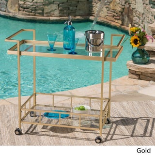 Selby Outdoor Industrial Tempered Glass Bar Cart by Christopher Knight Home