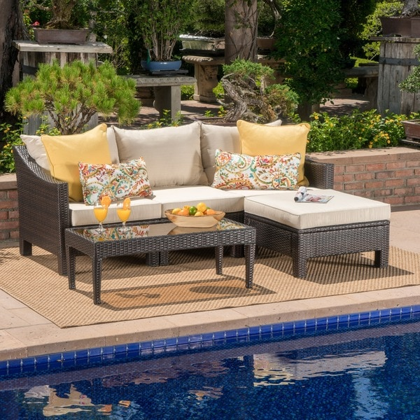 shop antibes outdoor 5 piece wicker l shaped sectional sofa set with cushions by christopher. Black Bedroom Furniture Sets. Home Design Ideas