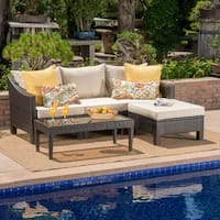 Antibes Outdoor 5-piece Wicker L-Shaped Sectional Sofa Set with Cushions by Christopher Knight Home