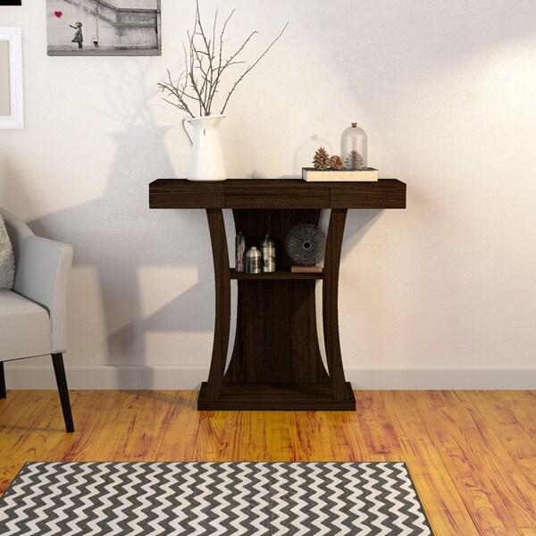 Porch & Den Bushwick Van Buren Modern Multi-storage Cappuccino Console Table