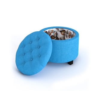 Porch & Den Carytown Parkwood Round Ottoman with Shoe Holder Insert