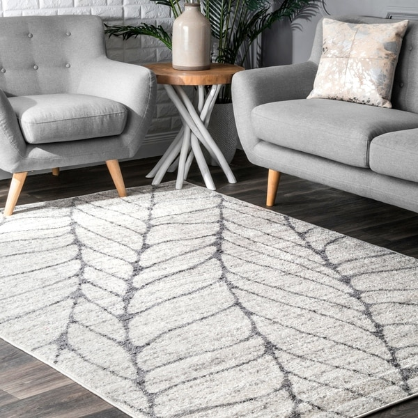 Porch & Den Williamsburg Roebling Grey Abstract Leaves Rug - 4' x 6'