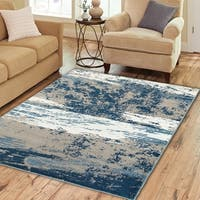 Porch & Den Somerville Wigglesworth Beige and Blue Olefin Indoor Area Rug - 7'9 x 9'5