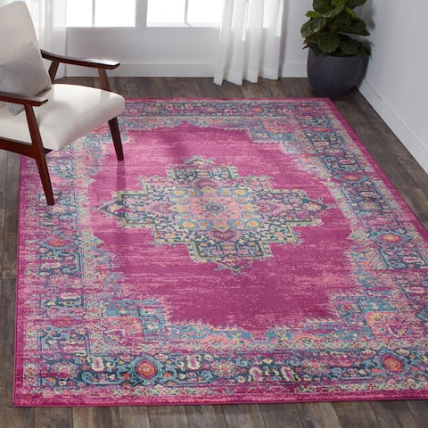 Porch & Den Dobbin Vintage Persian Medallion Farmhouse Area Rug
