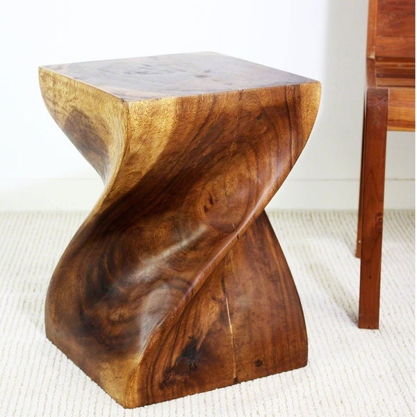 Big Twist Stool 14 in SQ x 20 in H Walnut Oil