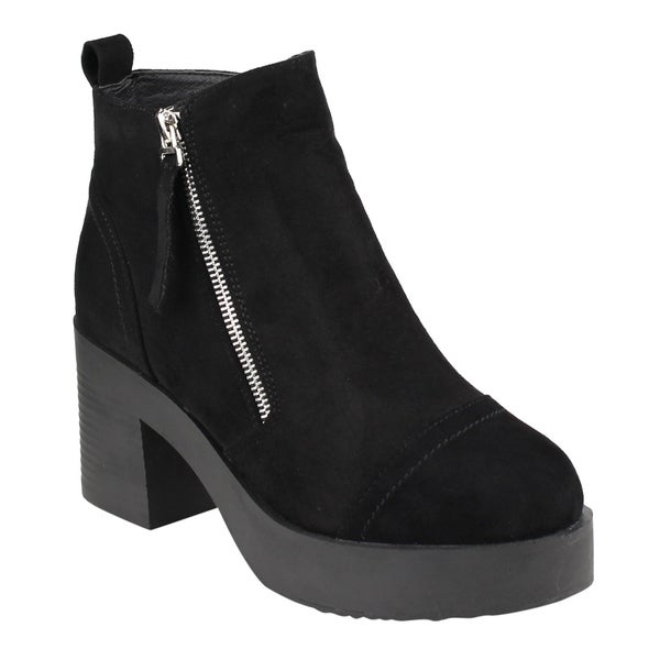 FM45 Women's Side Zipper Platform Stacked Block Heel Ankle Booties