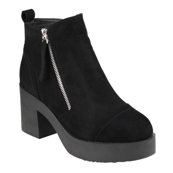 FM45 Women's Side Zipper Platform Stacked Block Heel Ankle Booties