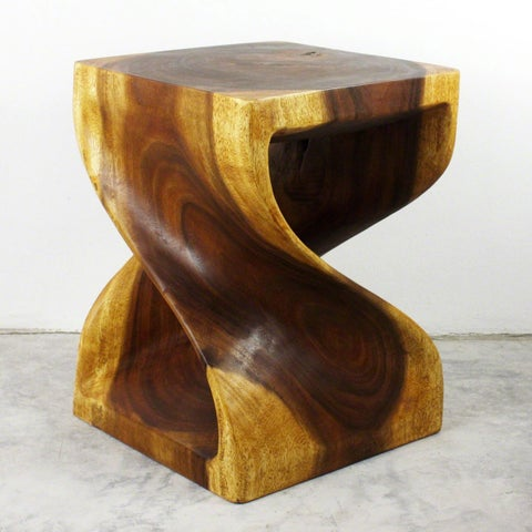 Twist End Table 15 x 15 x 20 in H Oak Oil