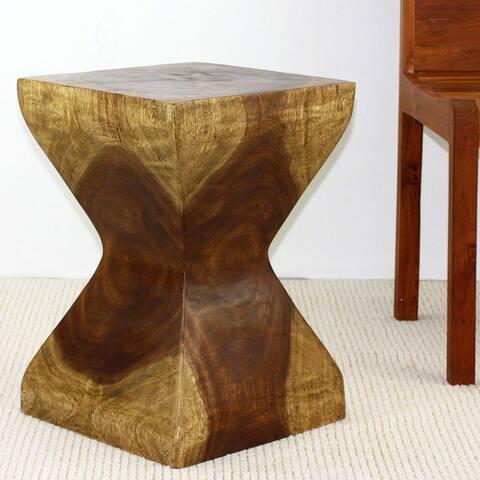 Haussmann Handmade Wood Rest Stool 14 in SQ x 20 in H Antique Oak Oil