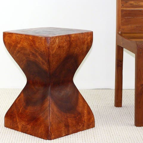 Haussmann Handmade Wood Rest Stool End Table 14 in SQ x 20 in H Cherry Intensive Oil