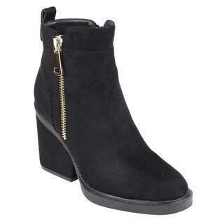 Beston FM42 Women's Side Zipper Back Pull Tab Wrapped Block Heel Ankle Booties