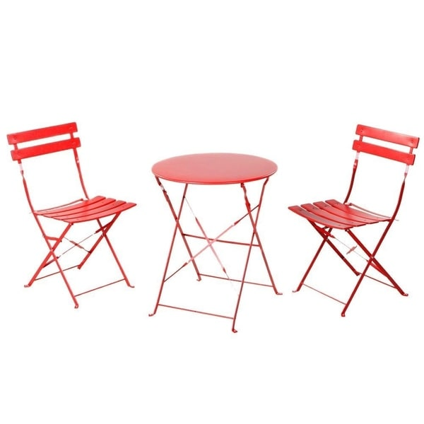 Grand Patio Outdoor Balcony Folding Steel Bistro Furniture Sets, Foldable Table and Chairs, Red