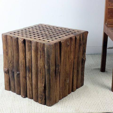 Haussmann Handmade Teak Timber Block Lattice Sofa Table 18 in H Light Teak Oil