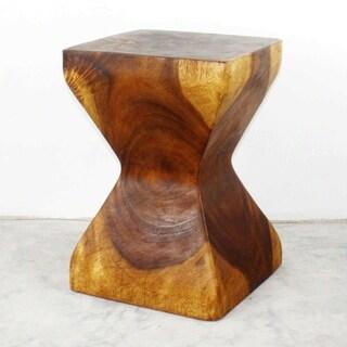 "Handmade Wood Rest Stool End Table (Thailand) - 14"" x 14"" x 20"" - 14"" x 14"" x 20"""