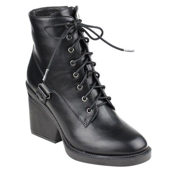FM43 Women's Ankle High Top Wrapped Block Heel Combat Booties