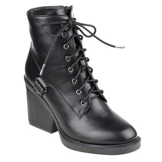 Beston FM43 Women's Ankle High Top Wrapped Block Heel Combat Booties