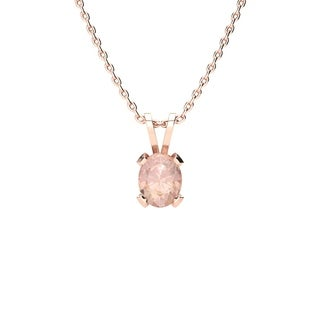 0.60 Carat Oval Shape Morganite Necklace In 14K Rose Gold Over Sterling Silver, 18 Inches - Pink