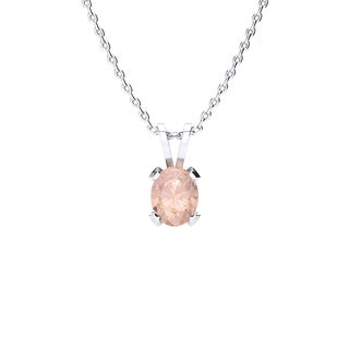 0.60 Carat Oval Shape Morganite Necklace In Sterling Silver, 18 Inches - Pink