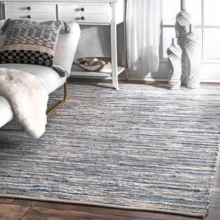 nuLOOM Handmade Casual Faded Denim Stripes Area Rug