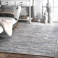 nuLOOM Handmade Casual Faded Denim Stripes Area Rug