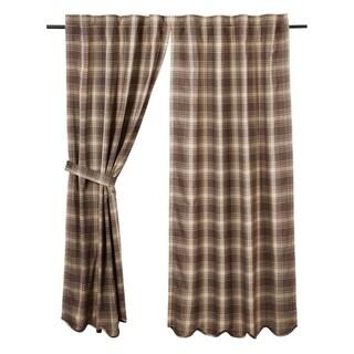 Brown Rustic Curtains VHC Dawson Star Panel Pair Rod Pocket Cotton Plaid - 63x36