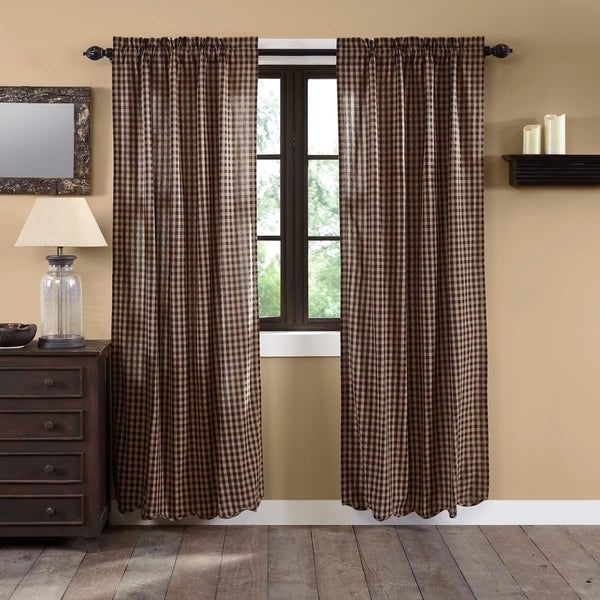 Shop Primitive Curtains VHC Burgundy Check Panel 84x40