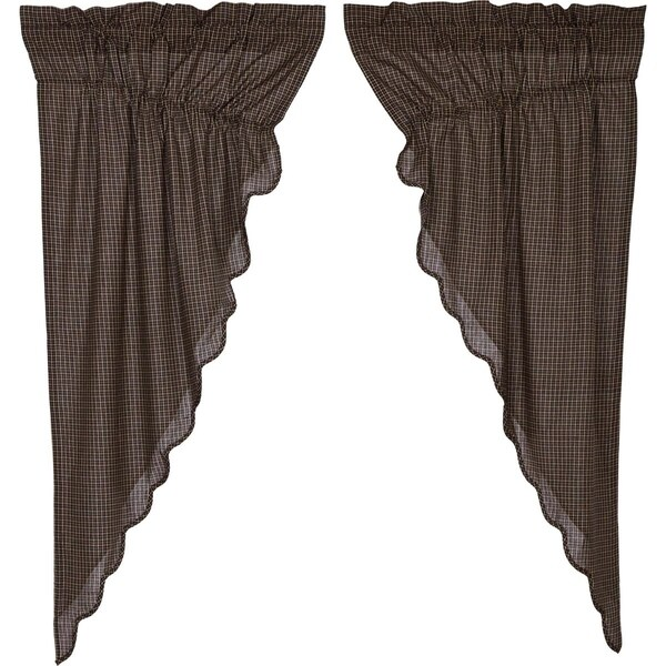 Black Primitive Curtains VHC Kettle Grove Plaid Prairie Panel Pair Rod Pocket Cotton - Prairie Panel 63x36