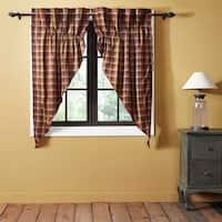 "Primitive Check Lined Prairie Curtain Set - 63"" x 36"""