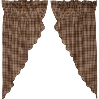Brown Rustic Curtains VHC Prescott Prairie Panel Pair Rod Pocket Cotton Plaid - Prairie Panel 63x36