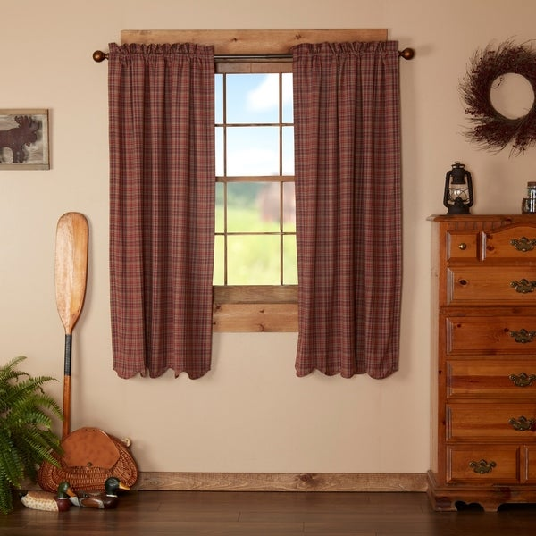 Red Rustic Curtains VHC Parker Panel Pair Rod Pocket Cotton Plaid 63x36