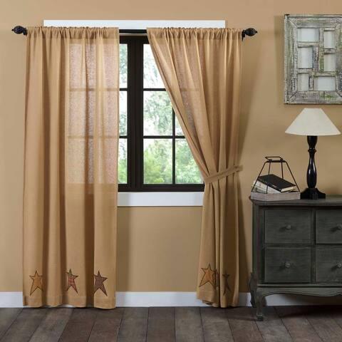 Tan Primitive Curtains VHC Stratton Burlap Star Panel Pair Rod Pocket Cotton Star Appliqued Cotton Burlap - 84x40