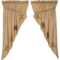 "Stratton Burlap Applique Star Prairie Curtain Set - 63"" x 36"""