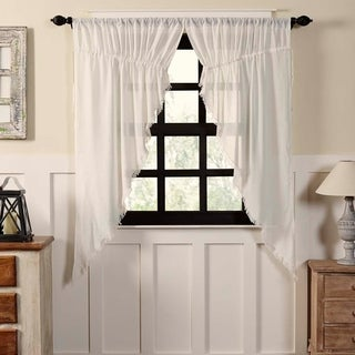 "Tobacco Cloth Fringed Prairie Curtain Set - 63"" x 36"""