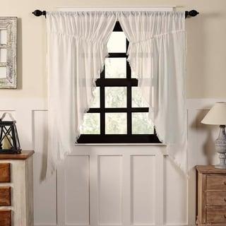 """Tobacco Cloth Fringed Prairie Curtain Set - 63"""" x 36"""""""